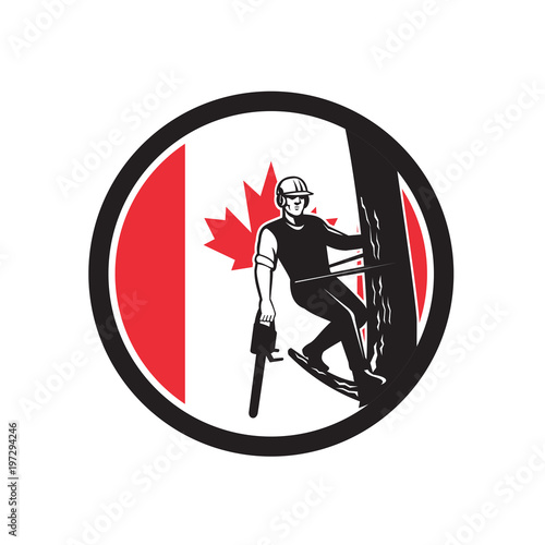 Photo Icon retro style illustration of a Canadian tree surgeon, arborist, tree surgeon, or arboriculturist, a professional of arboriculture holding chainsaw up tree Canada maple leaf flag set inside circle