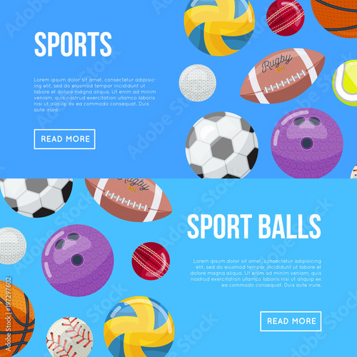 Fotografie, Obraz  Composed design of webpage with articles about sports and sport balls