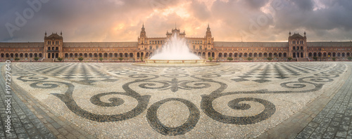 View of Spain Square during sunrise, Seville