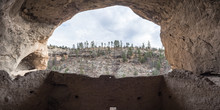 View Of Cliffs In Winter From Cave Dwelling  At Gila Cliff Dwellings National Monument, Silver City New Mexico