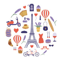 Paris Icon Set With Eiffel Tower. France Symbols Collection In Flat Design. Parisian Vacation Card Or Print Pattern In Cartoon Style. Romantic French Travel Elements. France Tourism Vintage Postcard.