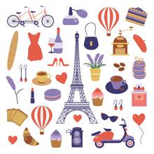 Paris Icon Set. Eiffel Tower, ...