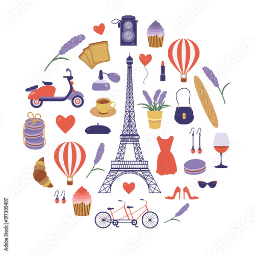 Paris Icon Set With Eiffel Tower France Symbols Collection In Flat Design Parisian Vacation Card Or Print Pattern In Cartoon Style Romantic French Travel Elements France Tourism Vintage Postcard Buy This