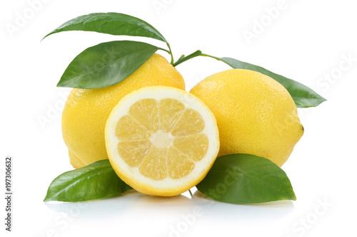 Zitrone Zitronen mit Blättern Früchte Freisteller freigestellt isoliert