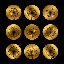 Dandelion Flowers Silhouettes On Golden Backdrop