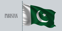 Pakistan Waving Flag On Flagpole Vector Illustration
