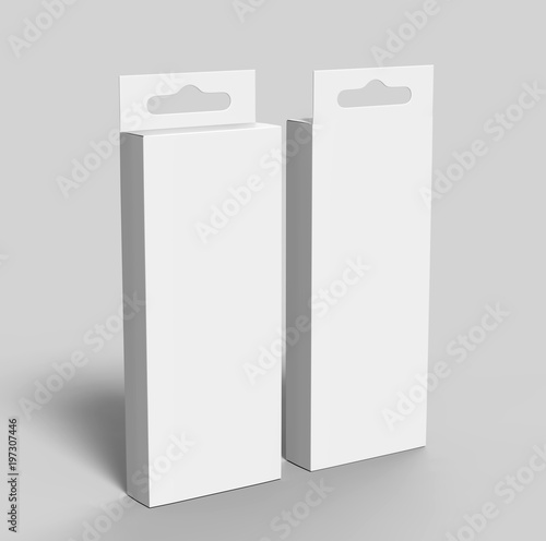 Fotografía  Hanging white blank cardboard packaging box with hang tab retail box for mock up design and design presentation