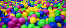 Many Colorful Plastic Balls In...