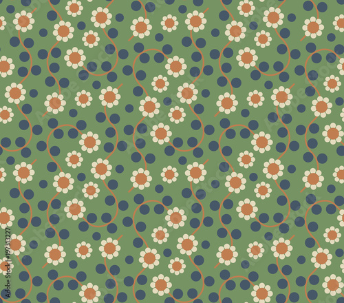 Cotton fabric Ornamental seamless pattern with leaf and flowers. Cute print in scandinavian style.The image is made in the style of spring things. Abstract background. Ornamental, traditional, simple.