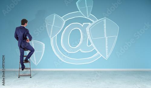 Obraz na plátně  Businessman watching internet security interface sketch on a wall 3D rendering