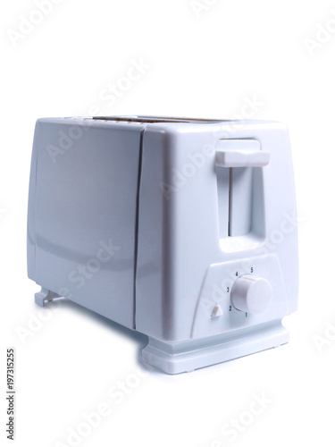 Two slices of bread in toaster one white background