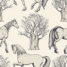 Vintage Beautiful Background With Horses And Trees, Creative Forest, Retro Seamless Pattern, Art Fabric, Fantasy Vector Print, Wallpaper For Decoration And Design
