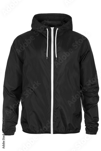 Warm black windbreaker jacket with hood Wallpaper Mural