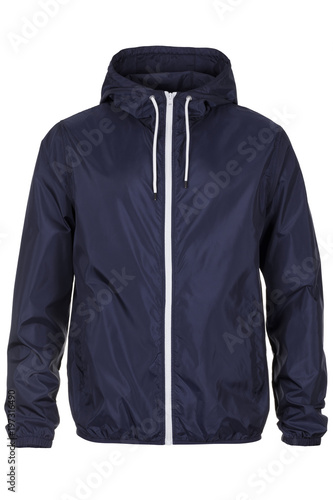 Photo Warm navy blue windbreaker jacket with hood