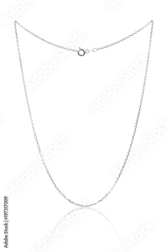 Silver necklace chain, luxury jewelry isolated on white background