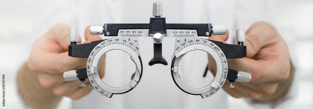 Fototapeta test vision equipment, optometrist trial frame close-up