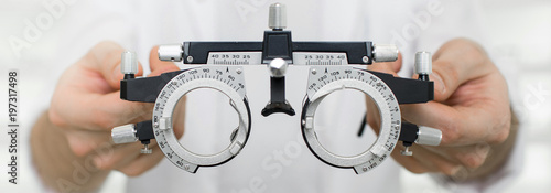 Fototapeta test vision equipment, optometrist trial frame close-up