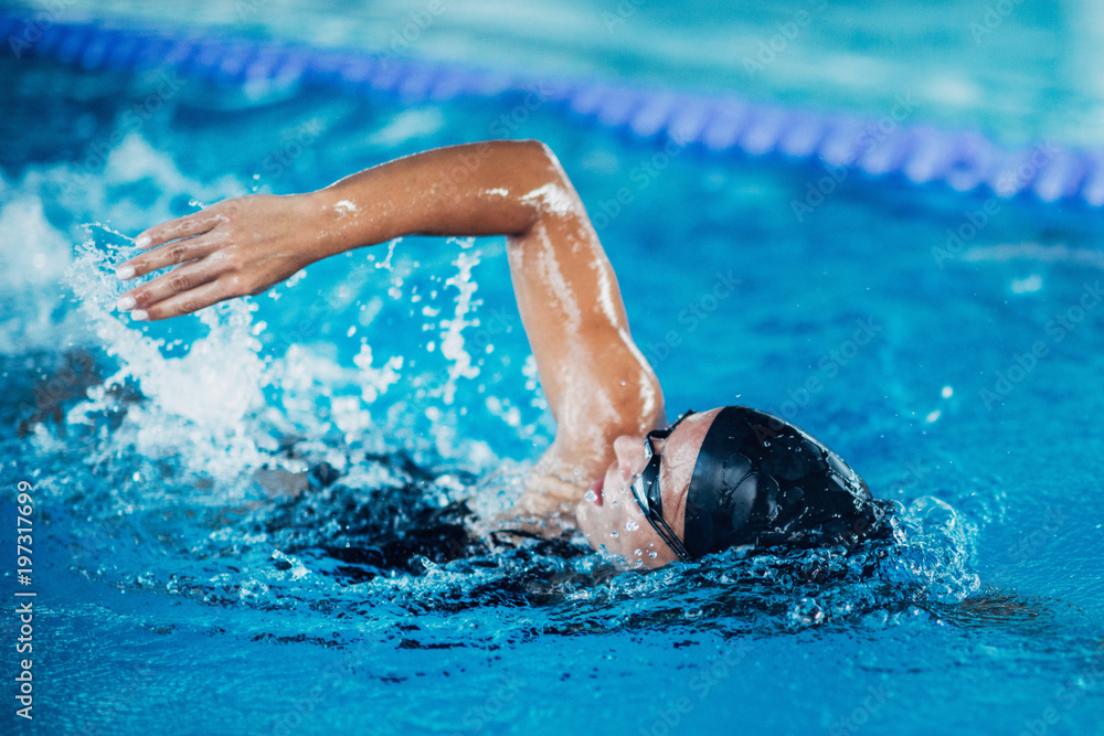 Fototapety, obrazy: Professional swimmer, swimming race, indoor pool