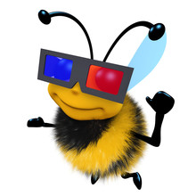 3d Funny Cartoon Honey Bee Character Wearing A 3d Glasses To Watch A Movie