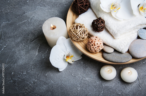 Foto op Canvas Spa Spa concept with white orchids