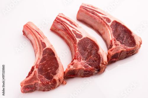 Carta da parati fresh lamb meat on a white background