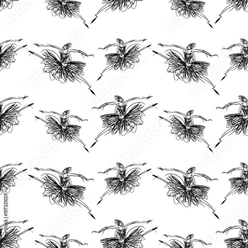 Cotton fabric Pattern of of sketches of dancing ballerinas