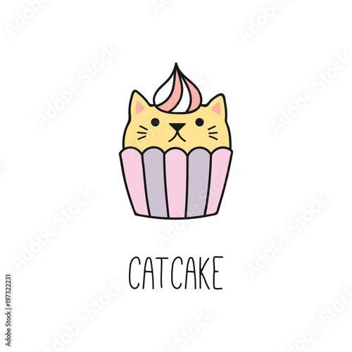 Printed kitchen splashbacks Illustrations Hand drawn vector illustration of a kawaii funny cupcake with cat ears. Isolated objects on white background. Line drawing. Design concept for cat cafe, children print.