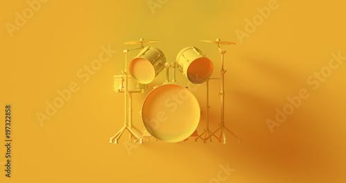 Fotografía  Yellow Drum Kit 3d illustration