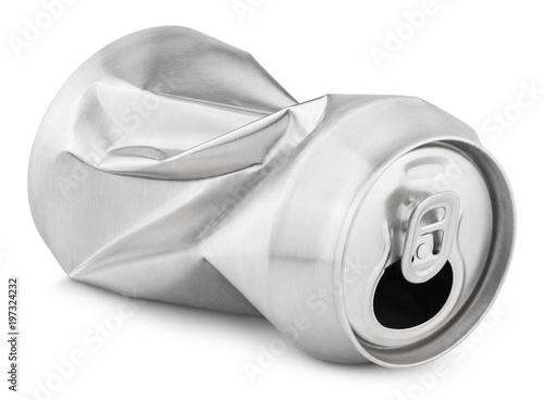 Crumpled empty blank soda or beer 330 ml can garbage isolated on white background with clipping path