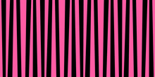 Cute Pattern Banner With Pink And Black Vertical Stripes.