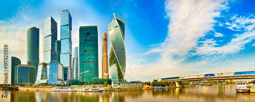 Cadres-photo bureau Batiment Urbain Moscow City skyline. Panorama