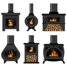 Iron Wood Burning Stove With F...