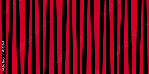 Cotton fabric Cute pattern banner with red and black vertical stripes.