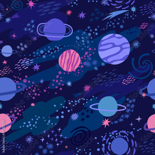 Vector space seamless pattern with star and planet Wallpaper Mural