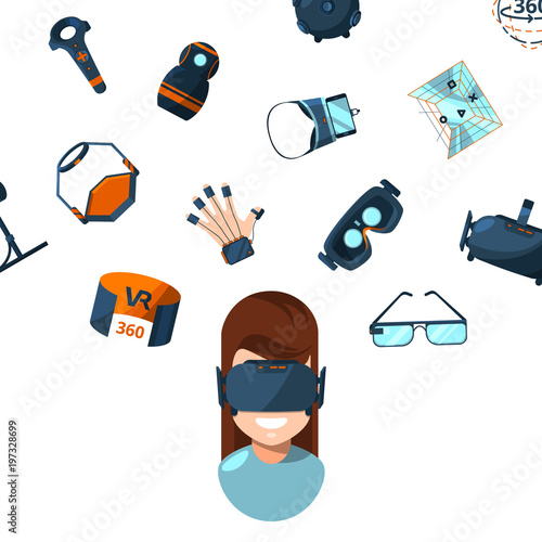 Vector concept illustration with flat style virtual reality elements Poster