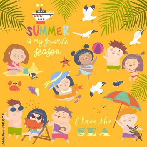 Summer childs outdoor activities. Beach holiday