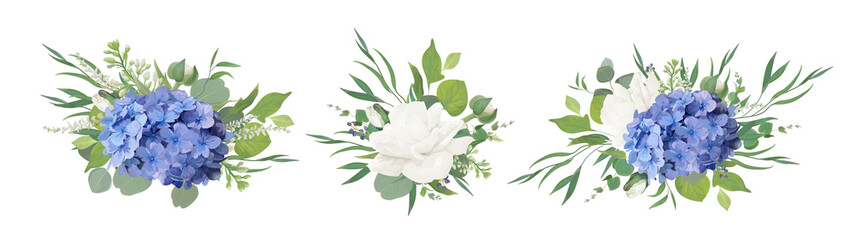 Panel Szklany Podświetlane Romantyczny Vector floral bouquet design: blue hydrangea flower, garden peony Rose, anemone poppy, ranunculus bud, white lilac, eucalyptus branches & greenery leaves. Vector, watercolor style designer element set