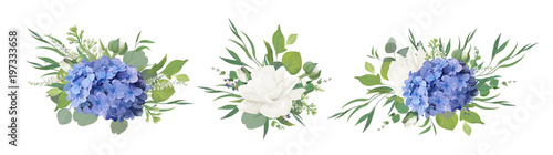 Fotografie, Tablou Vector floral bouquet design: blue hydrangea flower, garden peony Rose, anemone poppy, ranunculus bud, white lilac, eucalyptus branches & greenery leaves