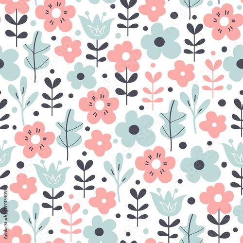 Bezszwowy wzór z kwiatami i liśćmi. Kwiatowy tło wektor.