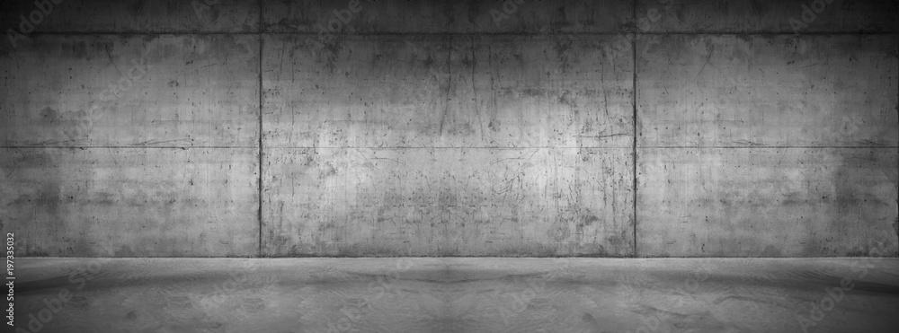 Fototapeta Moderne Betonmauer Hintergrund Textur Graue breite Steinwand mit Boden