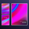 Holographic background set. Vibrant neon pastel texture. Hologram for print and web design. Hipster style backdrops. Trendy vector illustration for fashion or printed products.