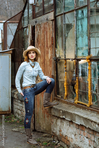 Woman In Western Wear In Cowboy Hat Jeans And Cowboy Boots Buy