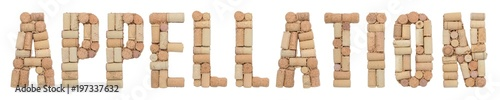 Photo Word Appellation made of wine corks Isolated on white background