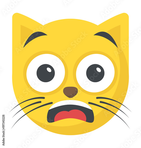 Fotografía Cat smiley with open mouth showing awestruck expression via emoji