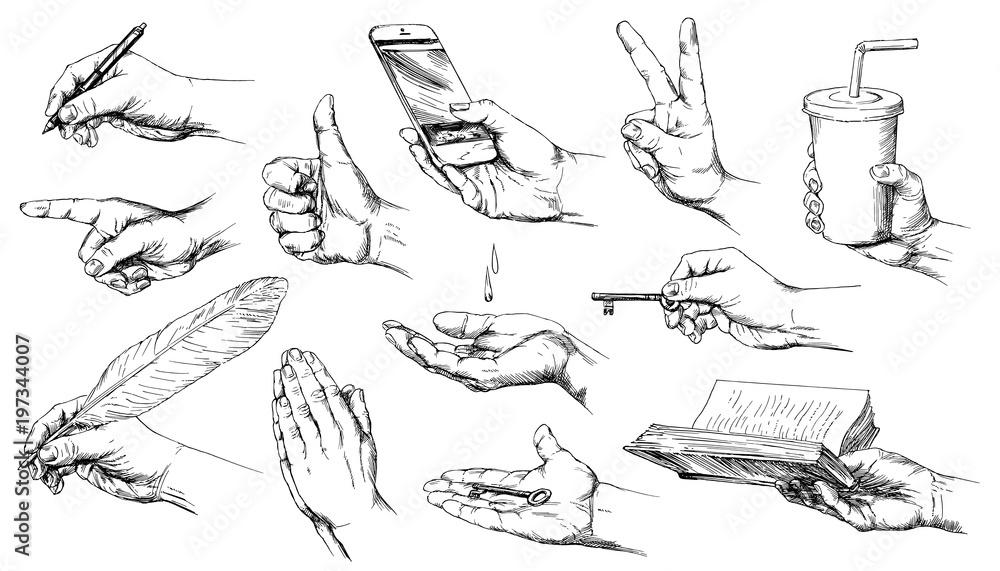 Fototapeta Set of hand drawn hands.