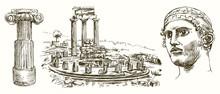 Sanctuary Of Apollo At Delphi, Greece, Hand Drawn Set