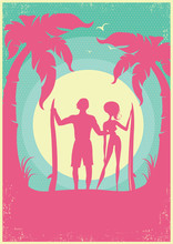 Lovely Couple Of Surfers And Blue Sea Waves On Poster.Vector Background