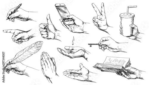 Valokuva  Set of hand drawn hands.