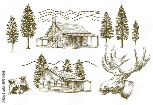 Canvas Hand drawn wooden cabin