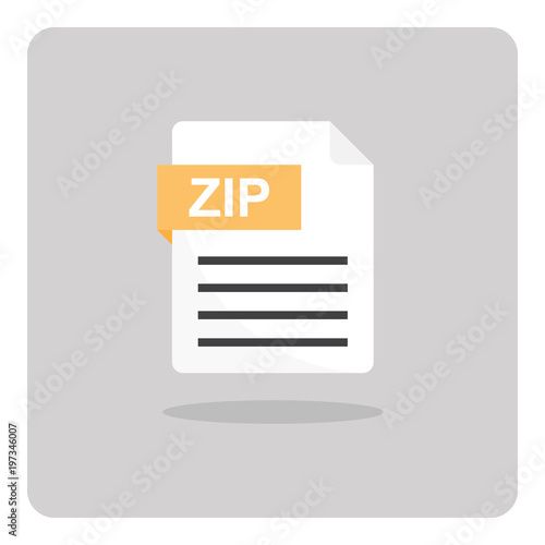 Vector design of flat icon, ZIP archive file format on